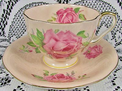 Aynsley Pink Cabbage Roses Peach Corset Style Tea Cup And Saucer