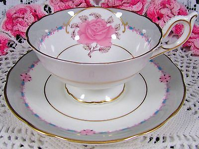 Coalport The Aristocrat Pink Rose Beaded Turquoise Tea Cup And Saucer
