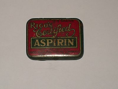 Vintage-Advertising-Medicine-Tin-RIGO'S-Certified-Aspirin-Tablets-Empty-Scarce