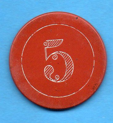 $5 CLAY POKER/CASINO CHIP   Incised/Engraved 5 on RED -In SUYDAM CATALOG c1880
