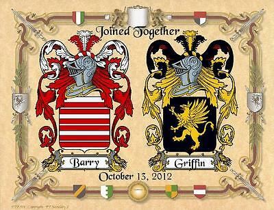 ANNIVERSARY CREST __ DUAL COAT OF ARMS  For MARRIED COUPLE ) Parchment Paper