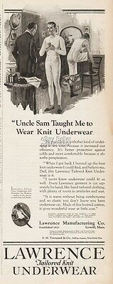 1922 Lawrence Men's Knit Underwear Lowell MA Vintage Fashion UNCLE SAM Ad