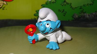 Smurfs Baby in White Pajamas Smurf Rare Vintage Unique Display Toy Figurine