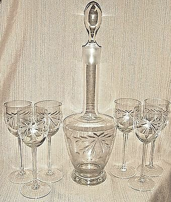 """EXQUISITE 17"""" Etched LEAD CRYSTAL DECANTER  & 6 Matching STEMMED GLASSES"""