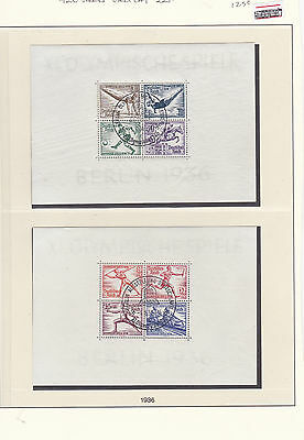 Germany Olympics Berlin 1936 Used Stamps Sheet CAT£225  Ref: R6385