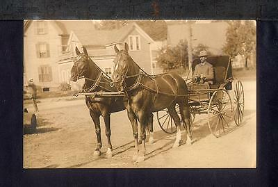 1910 HORSE DRAWN BUGGY Real Photo Postcard RPPC Pair Fine Horses