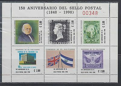 El Salvador 1990 Rowland Hill  Miniature Sheet Sc 1247  mint never hinged