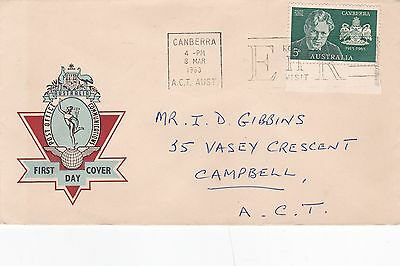 Australia 1963 50th Anniversary of Canberra FDC Canberra CDS Royal Visit Slogan