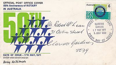 Australia 1971 50th Anniversary of Rotary in Australia FDC Clarence Gardens CDS