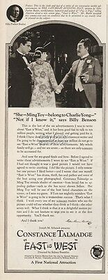 1922 Constance Talmadge Ellis Butler First National Pictures East Is West Ad