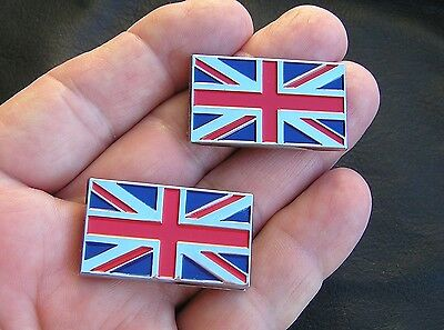 UNION JACK FLAG PAIR BADGES small chrome 35mm Emblems *NEW* Mini Morris MG etc.