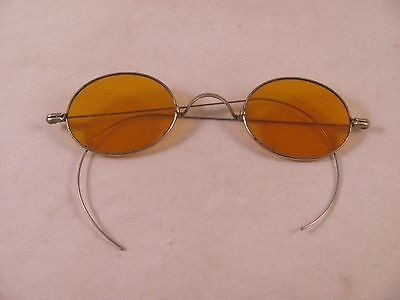 Antique Early 19th Civil War Eyeglasses Spectacles Sunglasses Orange Lens Thin