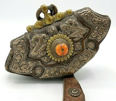 Antique 19Th Century Tibet Leather Chuckmuk Purse Pouch W/ Coral Silver & Brass