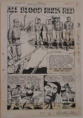 JOHN CELARDO original art, EXCITING WAR #5, pgs 1 2 3 4 5 6 7, 14x20, 1952,7 pgs