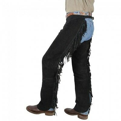 Tough-1 Western Fringed Chaps - Black - Small - NWT - 63-88 -