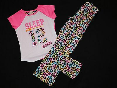 Girls JV APPAREL 2 Piece PJ Pajama Set Shirt Pants Animal Print 10/12