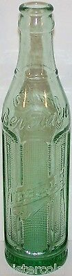 Vintage soda pop bottle TEHELS Wm T B Co embossed green 1929 Cedar Rapids Iowa