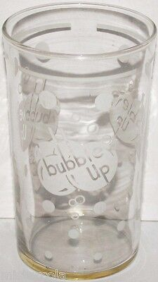 Vintage fountain glass BUBBLE UP soda pop white 3 logos with bubbles excellent++