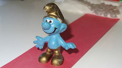 Smurfs Gold Smurf Wears a Golden Hat and Pants Rare Vintage Display Figurine