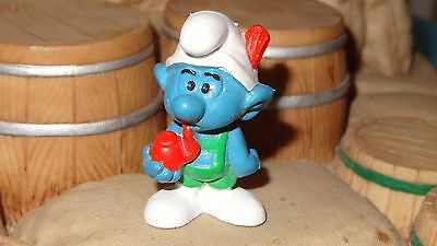 Smurfs Tyrolese Smurf with Pipe Swiss Alps Rare Vintage Toy Display Figurine