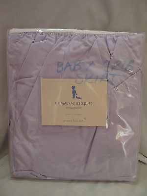 *nwt* Pottery Barn Kids Chambray Crib Bed Skirt Juponnage Lavender Solid Purple
