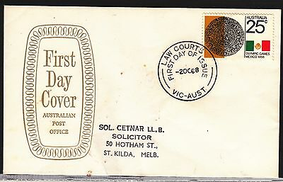AUSTRALIA 1968 25c Mexico Olympic on ADDRESSED FDC