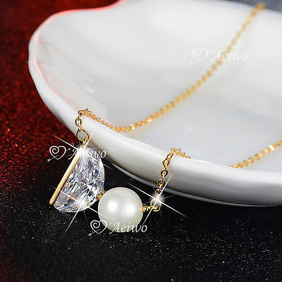 18K Yellow Gold Gf Crystal Pendant Imitation Pearl Necklace Word Do