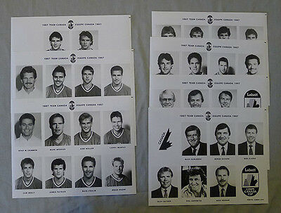 Lot of 7 Full Original 1987 Team Canada Hockey Press Photos Set