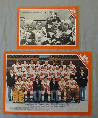 Lot of 2 Original 1982 Junior Team Canada World Championship Hockey Photos