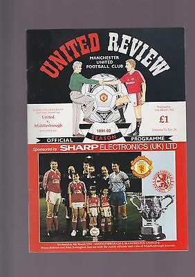 Manchester United V Middlesbrough 1991/92 Rumbelows Cup Semi Final