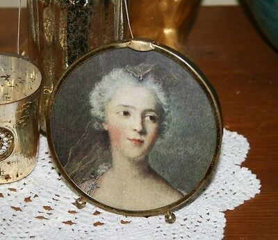 Antique Vintage Solid Brass Circular Picture/Photo Frame Standing Art Deco Round