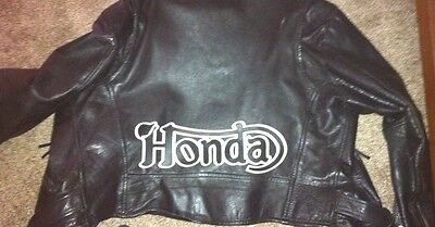 """Honda Motorcycle 14"""" synthetic leather b/w back patch. Cafe Racer. NEW.UNIQUE"""