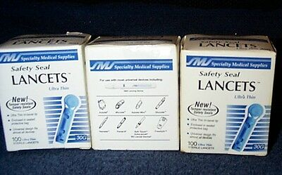 300 Safety Seal Lancets Ultra Thin Diabetic Medical Supplies New Sealed *1