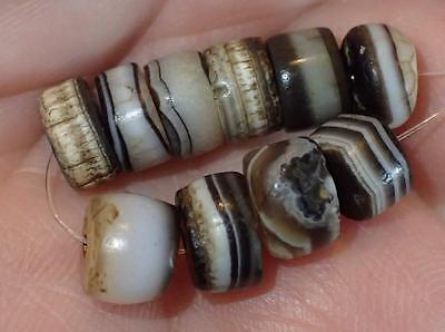 10 Ancient Tiny Rare Dzi Agate Beads, 2000+ Years Old, 7-7.5mm, #A5198