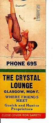The Crystal Lounge Gusick & Hunter Glasgow Montana MT Old Matchcover