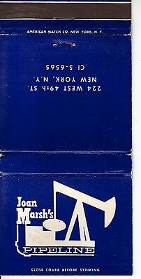 Joan Marsh's Pipeline 224 West 49th St. New York City NY Old Matchcover