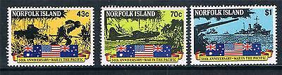 Norfolk Is 1991 Outbreak of Pacific War SG 522/4 MNH