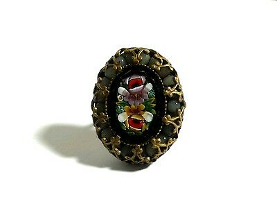 Vintage Antique Victorian Italy Micro Mosaic Black Floral Glass Bead Brass Ring