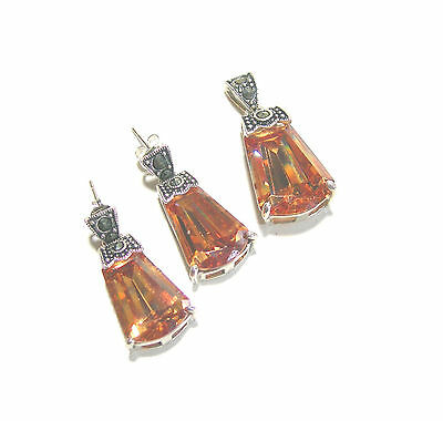 Sterling Silver Carnival Glass Color & Marcasite Necklace Pendant & Earrings Set