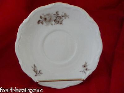 "Mitterteich Bavaria Germany China-Floral-6"" Saucer-Roses-Brown/gray"