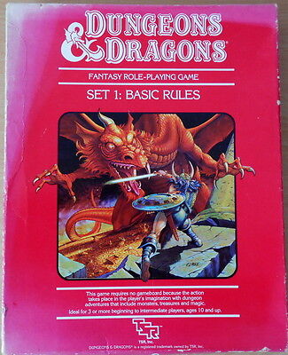 Dungeons & Dragons D&D Set 1 Basic Rules  - 2 Books & 6 Dice. vintage set.