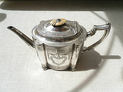 Ornate antique engraved silver plated teapot