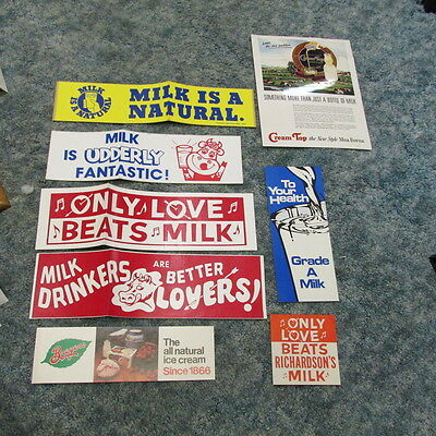 Dairy Advertising Bumper Stickers & misc paper ads