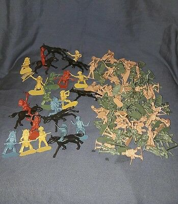 Collection of Plastic Military Figures, Cowboys, Indians & Horses. Unbranded.