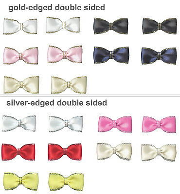"""50 100 35mm 1.4"""" Pre-Tied Bow Ties Gold Silver Edged Satin Ribbon Eco Quality"""