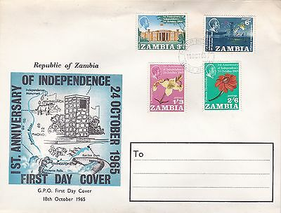 Zambia 1965 1st Anniversary of Independance Unadressed FDC