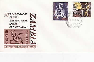 Zambia 1969 50th Anniversary of International Labour Organisation Unadressed FDC