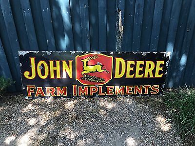 Original 1930's John Deere Farm Implements 3 Leg Deer Porcelain Sign