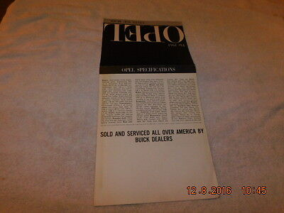 Original Very Good / Very Good+ 1961 Opel Brochure - 8.5 X 11 Folded