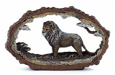 "Lion Carved Wood Look Bark Frame Figurine Resin 7.5"" Long New In Box!"